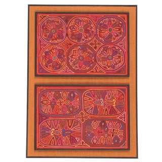Museum Displayed Mola Textile Art of the Cuna Indians, San Blas Island, Panama For Sale