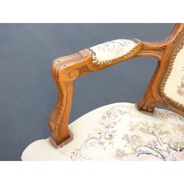 White French Provincial Tapestry Ornate Carved Arm Chair For Sale - Image 8 of 10