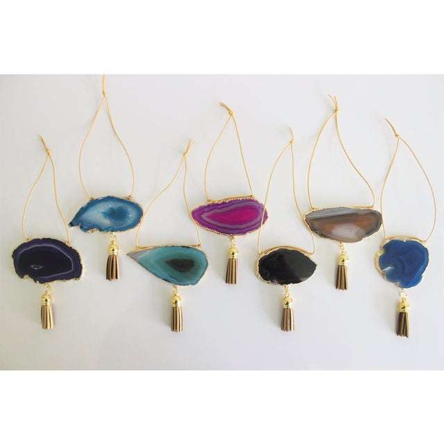 Modern Boho Agate Holiday Ornaments - Set of 7 - Image 2 of 11