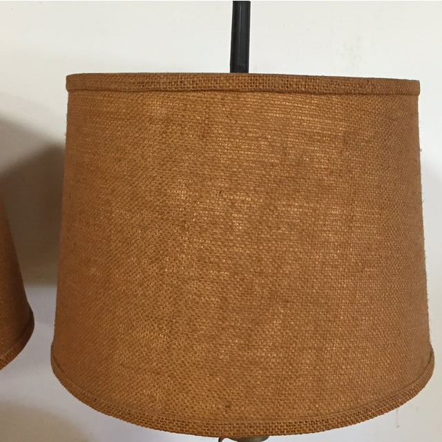 Mid Century Brass Corkscrew Table Lamps - A Pair - Image 3 of 10