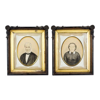 Victorian Elderly Husband and Wife Portrait Prints - a Pair For Sale