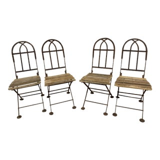 Early 20th Century Antique French Folding Bistro Chairs- Set of 4 For Sale