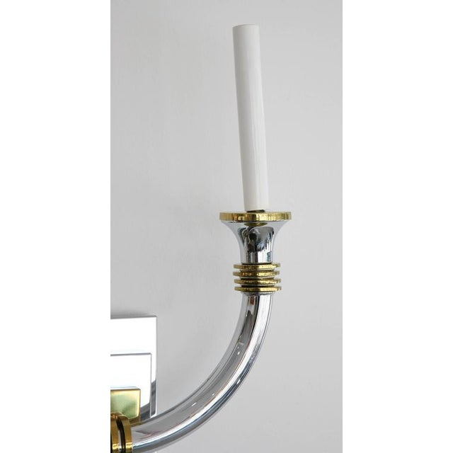 1980s Art Deco Chrome and Brass Wall Sconces - a Pair For Sale - Image 5 of 11