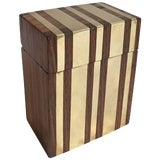 Image of Hinged Wooden Box With Inlaid Brass Strips For Sale