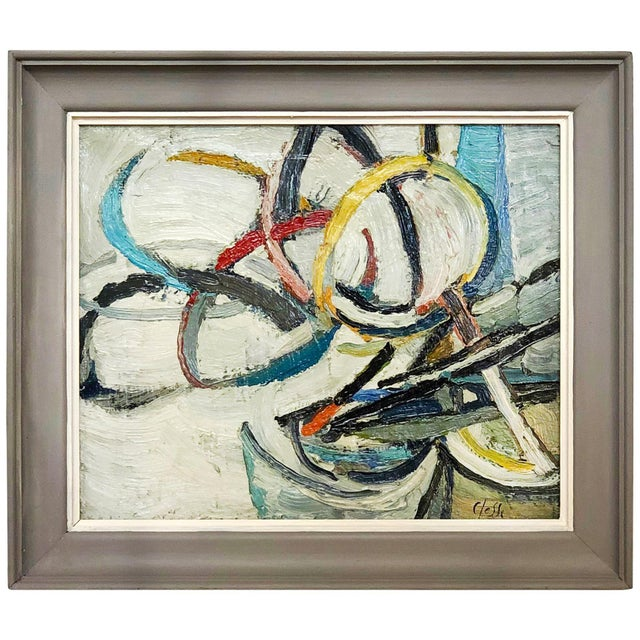 Mid 20th Century 20th Century Round Abstract Forms Painting by Daniel Clesse For Sale - Image 5 of 5