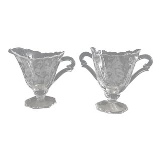 Art Nouveau Etched Crystal Sugar Bowl and Creamer