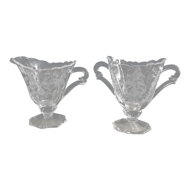 Art Nouveau Etched Crystal Sugar Bowl and Creamer For Sale
