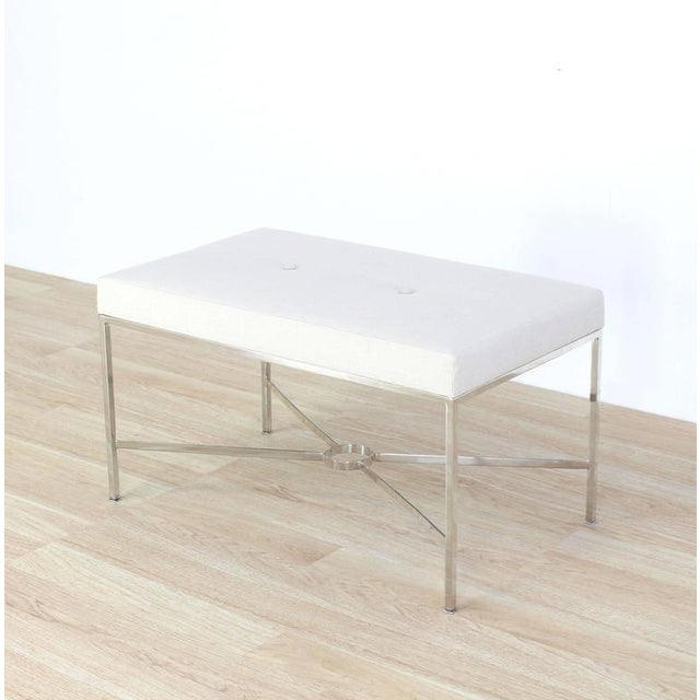 Textile Chrome X-Base Upholstered Top Bench For Sale - Image 7 of 9