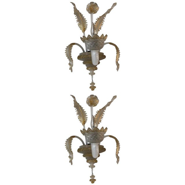 Murano Glass Handblown Sconces With Milk White Glass and Gold Leaf, Early 20th C. - a Pair For Sale In San Francisco - Image 6 of 6