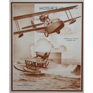 Three Unusual French Sepia Tone Lithographs of 1930's Airplanes For Sale