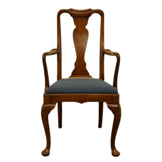 High End Solid Walnut Traditional Style Splat Back Dining Arm Chair For Sale