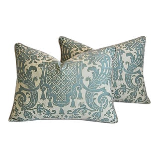 "Italian Mariano Fortuny Carnavalet Feather/Down Pillows 23"" x 18"" - Pair"