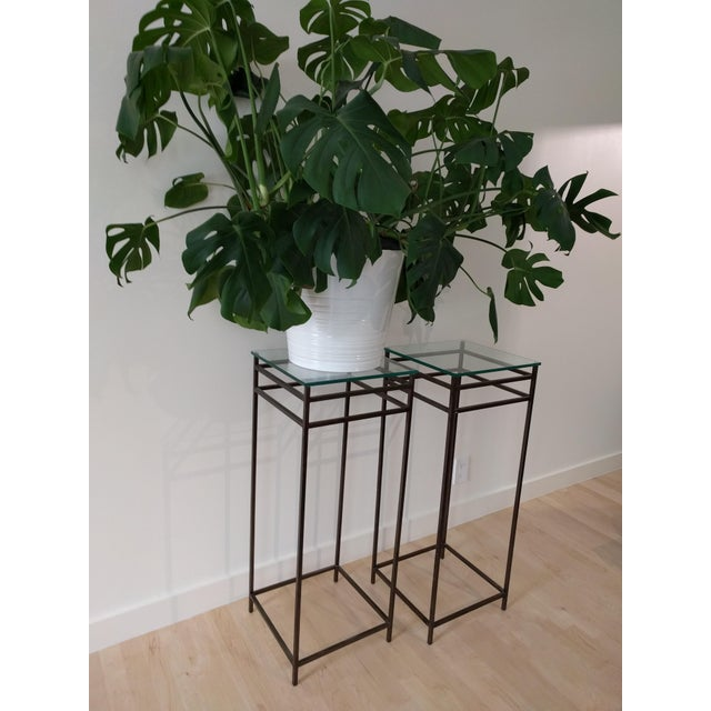 Gold Modern Contemporary Tall Metal Plant Stands - a Pair For Sale - Image 8 of 12