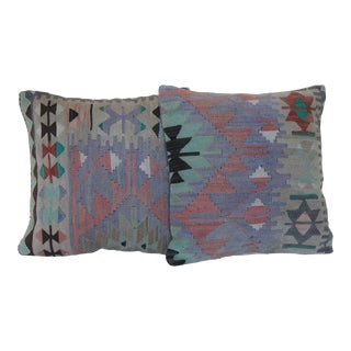 """Boho Chic Vintage 16"""" Handmade Kilim Pillow Covers - a Pair For Sale"""