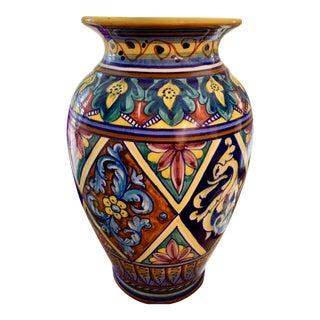 Franco Mari Pottery - Majolica Dragon Vase For Sale