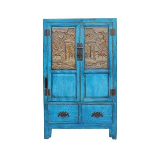 Chinese Distressed Bright Blue Golden Brown Carving Storage Cabinet For Sale