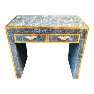 Custom One of a Kind Green and Gold Leaf Faux Marble Art Deco Style Hollywood Regency Small Desk For Sale