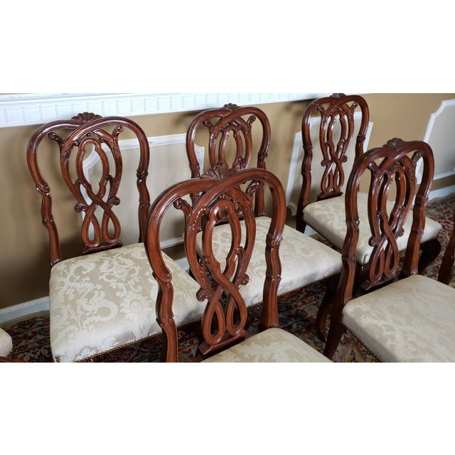 High Top Tier Karges Furniture Mahogany Chippendale Dining Room Chairs - Set of 8 For Sale - Image 9 of 12