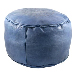 Blue Moroccan Leather Pouf