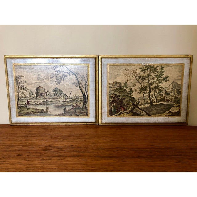 Gold Vintage Florentine Scenic Wall Plaques For Sale - Image 8 of 8