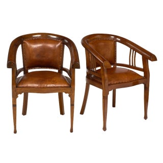 1930s Austrian Art Deco Period Leather Armchairs - a Pair For Sale