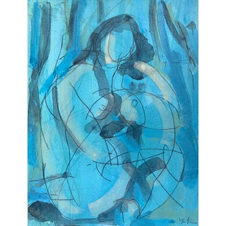 Figurative Drawing 'Blue Dream' Seated Nude For Sale