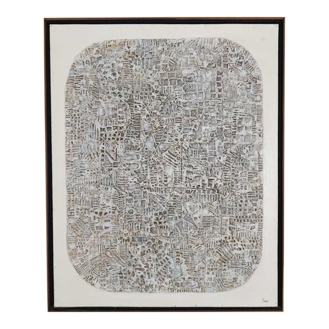 Abstract Brutalist Style Textured Art on Masonite For Sale