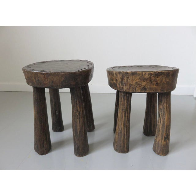 1950s French Brutalist Mid-Century Stools - a Pair For Sale In Chicago - Image 6 of 7