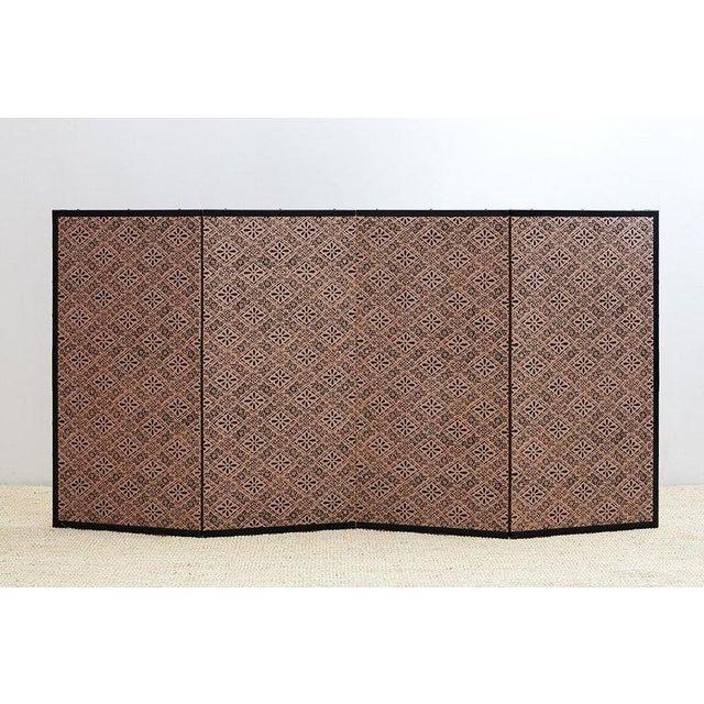 Japanese Four Panel Landscape Byobu Screen For Sale - Image 9 of 13