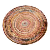 Image of Handmade Braided Recycled Cotton & Jute Rug - 6' X 6' For Sale