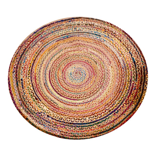 Handmade Braided Recycled Cotton & Jute Rug - 6' X 6' For Sale