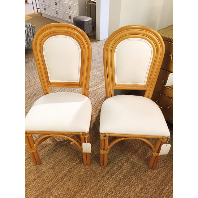 Upholstered Rattan Side Chairs - A Pair For Sale In Charlotte - Image 6 of 6