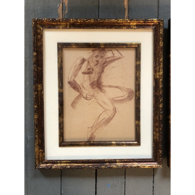 A great pair of vintage sepia Female Nude studies on paper 8 x 10 Overall size with frame is 12.5 x 14.5 each