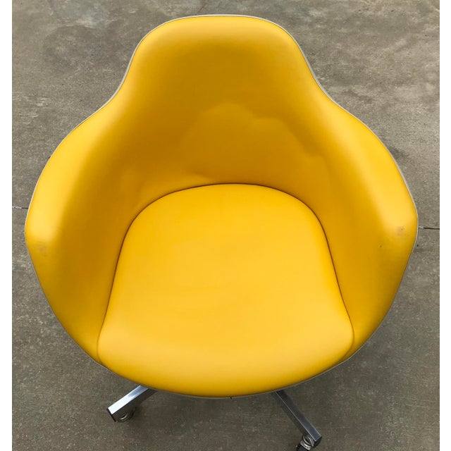 Vintage Mid Century Yellow Eames Style Shell Rolling Desk Chair For Sale In Dallas - Image 6 of 13