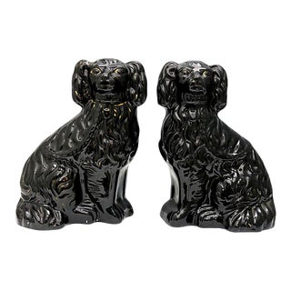 19th Century Victorian Jackfield King Charles Spaniel Dogs, a Pair For Sale