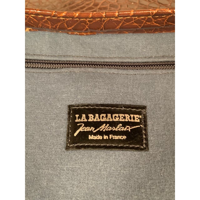 Textile La Bagagerie Paris Brown Vegan Faux Alligator Oversized Shoulder Tote Bag For Sale - Image 7 of 10