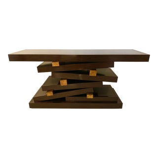 Contemporary Lacquered Dark Wood and Brushed Gold Accent Console Table For Sale