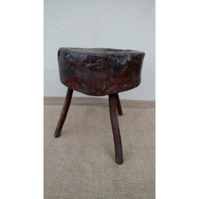 1900s Primitive Butchers Block/Chopping Block For Sale - Image 4 of 4
