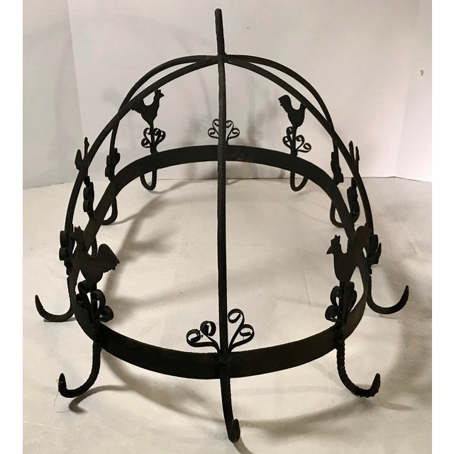 20th Century French Country Black Iron Pot Rack For Sale - Image 4 of 11