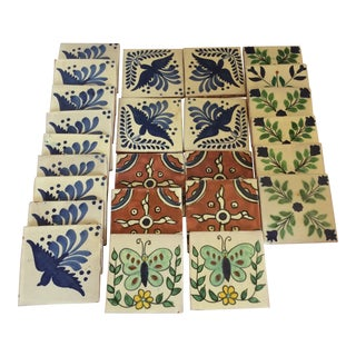 Vintage 1950's Hand Painted Spanish Talavera Tiles - Set of 25