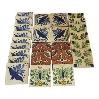Vintage 1950's Hand Painted Spanish Talavera Tiles - Set of 25