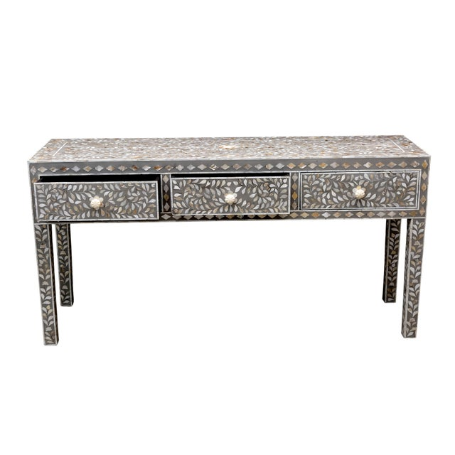 Gray Mother of Pearl Inlay Console - Image 5 of 5