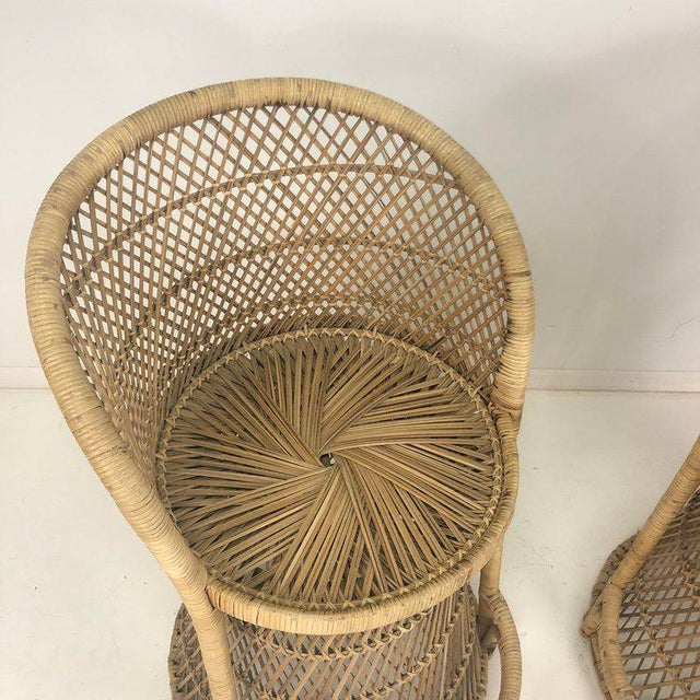 Woven Rattan Wicker Barstools - a Pair For Sale - Image 4 of 8