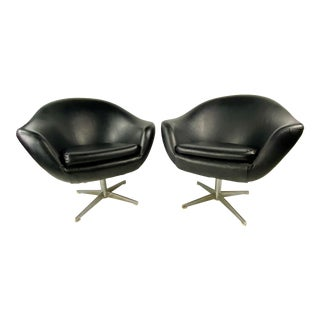 Mid-Century Black Overman Swedish Swivel Lounge Chairs - a Pair For Sale