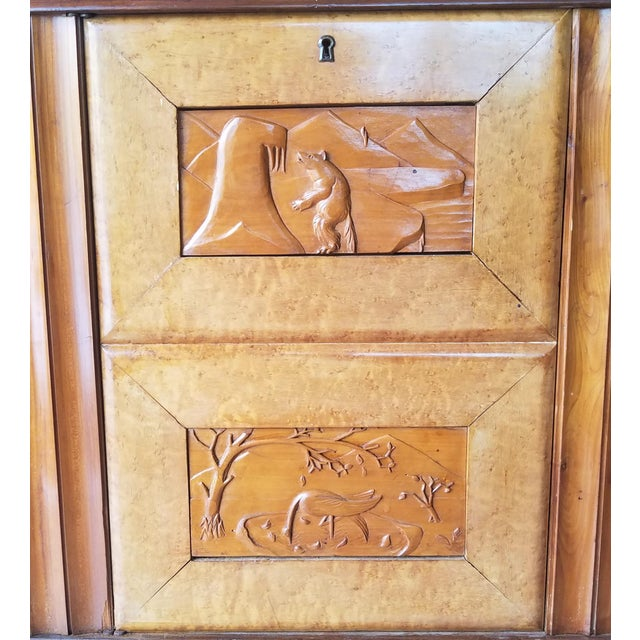 9' Custom Made Italian Credenza With Hand Carved Reliefs For Sale - Image 4 of 13