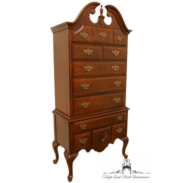 Country 20th Century French Stanley Furniture Cherry Pediment-Top Highboy Chest For Sale - Image 3 of 13