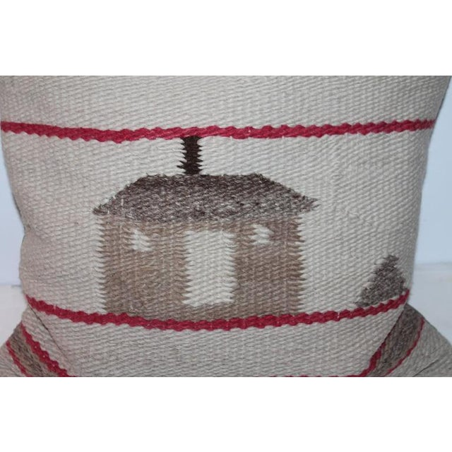 This fun country scene weaving is in good condition with wear consistent with age and use. This country house with a tree...