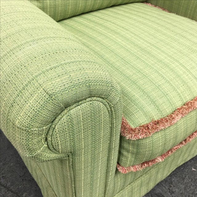 Green Fringed Arm Chair & Ottoman - Image 5 of 9