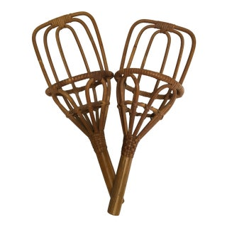 Vintage Rattan Jai Alai Scoops - a Pair For Sale