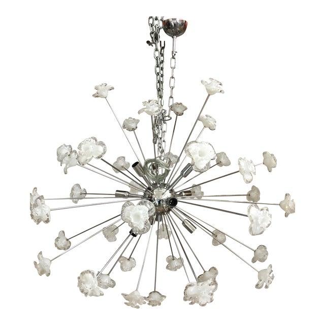 Modern Murano Glass Triedo Sputnik Flower Chandelier For Sale